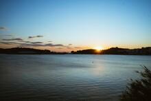 Horizontal Shot Of Sunset Over...