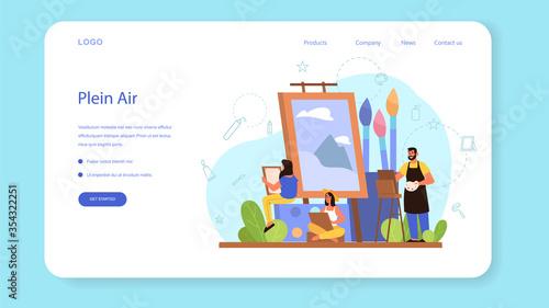 Fototapeta Plein air concept illustration web banner or landing page. obraz