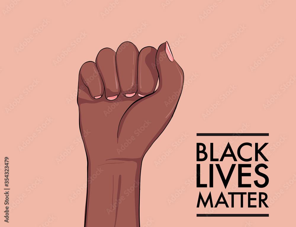 Fototapeta Stop racism. Black lives matter. African American arm gesture. Anti discrimination, help fighting racism poster, Politics tolerance acceptance banner concept. People equality united template in vetor