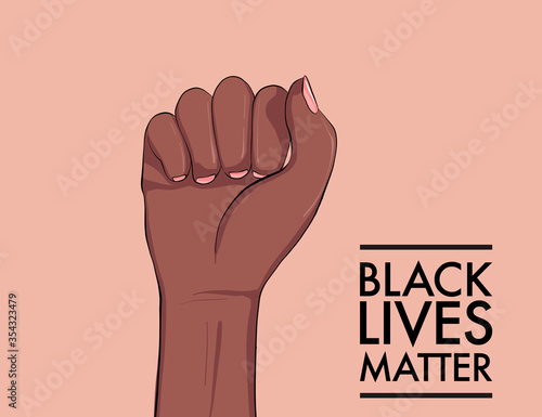 Obraz Stop racism. Black lives matter. African American arm gesture. Anti discrimination, help fighting racism poster, Politics tolerance acceptance banner concept. People equality united template in vetor - fototapety do salonu