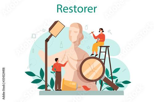 Fototapeta Restorer concept. Artist restores an ancient statue, old painting obraz