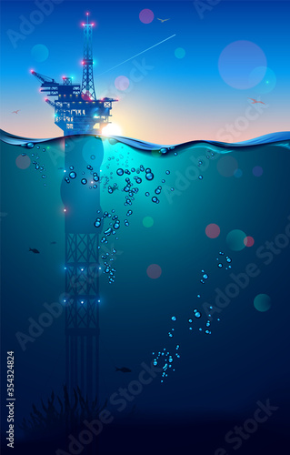 Oil rig or drilling platform in sea and subsea extractions gas and oil from the ocean floor. Sunlight on horizont in ocean landscape. industry of mining production on offshore. Underwater surface.