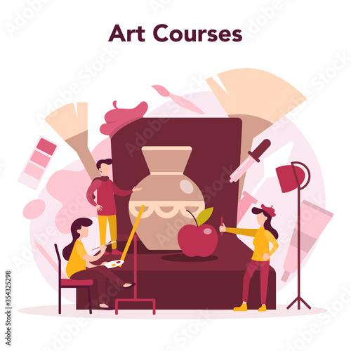 Fototapeta Art education. Male and female artist standing in front of big easel obraz