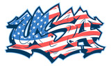 Fototapeta Młodzieżowe - USA lettering in readable graffiti style filled with national flag. Vector banner isolated on white.