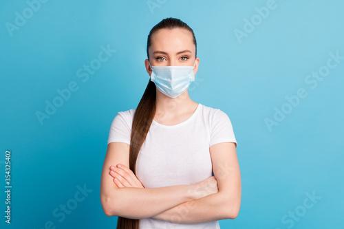 Photo of self-confident assert lady hospital examination business center listen Canvas Print