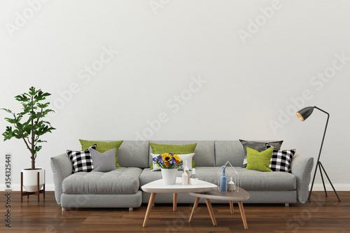 Fototapeta living room interior. 3d render background wood floor wooden wall modern template design mock up copy space obraz