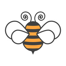 Bee Icon. Cartoon Image On A C...
