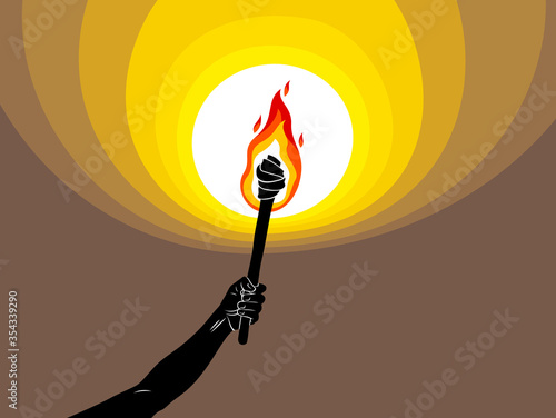 Torch in a hand raised up illuminates the dark vector illustration, Prometheus, flames of fire, bring the light to the dark, conceptual allegory art Canvas Print