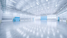 Hangar Or Industrial Building. Protection With Security Door, Roller Door Or Roller Shutter. Modern Interior Design With Concrete Floor, Steel Wall And Empty Space For Industry Background. 3d Render.