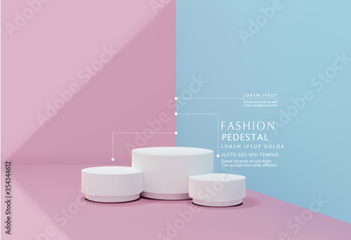 Obraz Vector pink-blue minimal scene , podiumfor cosmetic product presentation. Abstract background with geometric podium platform in pastel colors. Template for design, presentation, advertisement. - fototapety do salonu