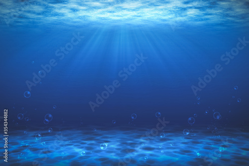 Sunbeam blue with bubbles deep sea or ocean underwater background.