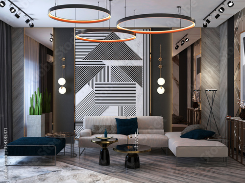Luxurious reception hall design with sofa, console, antique wall effect in white Fotobehang
