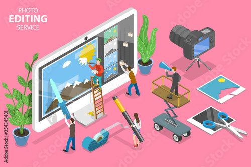Photographie 3D Isometric Flat Vector Concept of Photo Editing Online Service, Professional Graphic Design Software