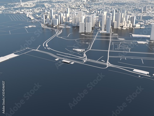 Obraz stylized graphics city of Singapore, 3D render - fototapety do salonu