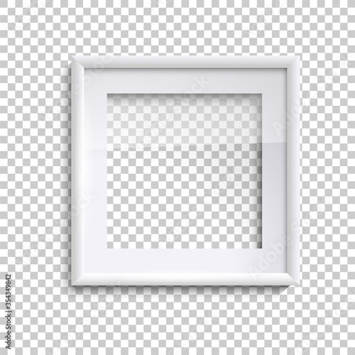 Leinwand Poster Blank white picture frame with glass, square empty picture frame