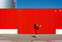 Woman Dressed In Red Overall J...