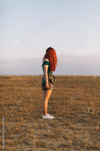 Redhaeded woman standing on a meadow - 354354286