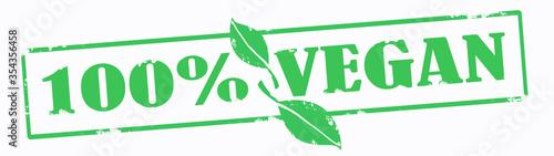 Veganism banner - Green grunge stamp, with the words  100% VEGAN  with green l Billede på lærred