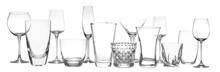 Set Of Empty Glasses On White ...