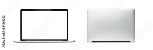 Fotomural Laptop or Notebook blank screen and back view, isolated with clipping path on white background