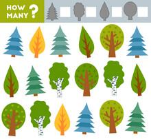 Counting Game For Children. Educational A Mathematical Game. Count How Many Trees And Write The Result!