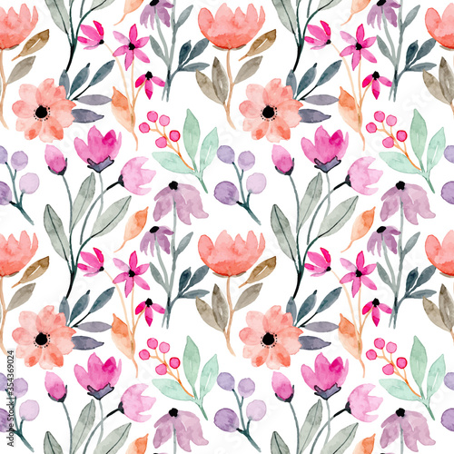 colorful wild floral watercolor seamless pattern - 354369024