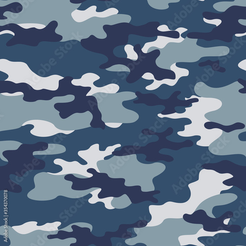 Cuadros en Lienzo Blue military camouflage seamless pattern classic background on textile