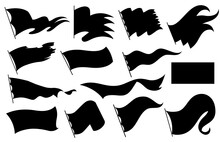 Black Flags Silhouettes Icons ...