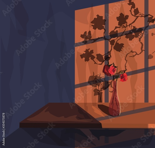 Empty room with shadow from window Wallpaper Mural