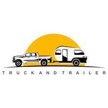 Truck And Trailer Caravan Logo Design Vector