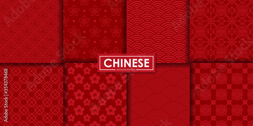 Obraz Chinese seamless pattern set, Abstract background, Decorative wallpaper. - fototapety do salonu