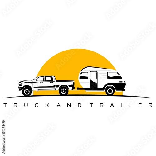 Fotografie, Tablou truck and trailer caravan logo design vector