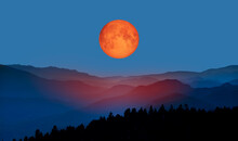 "Bloody Moon Of Total Lunar Eclipse With Blue Mountains ""Elements Of This Image Furnished By NASA """