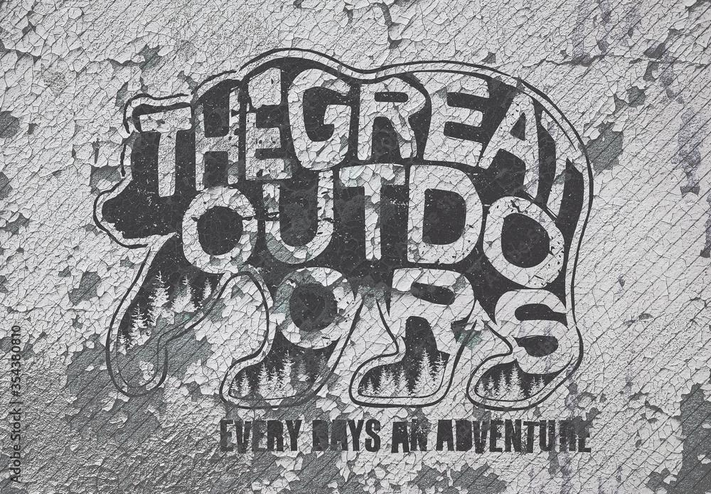 Fototapeta Grunge Wall Logos Mockup Set