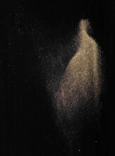 Black Velvet Fabric, Black Abstract Background With Gold Dust