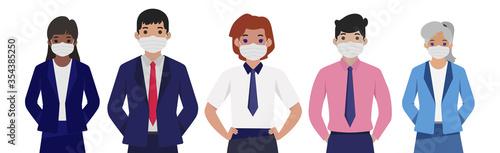 Obraz Group of people in sterile medical masks - Vector - fototapety do salonu