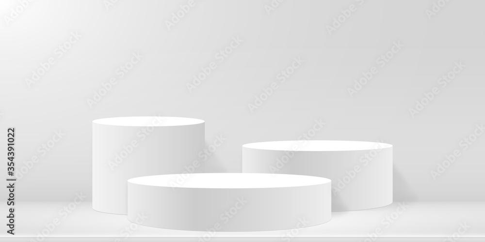 Fototapeta Round podium or pedestal on minimal scene platform. Mockup of studio for product presentation, branding design. 3d blank podium. Advertising stand for product. Vector illustration.