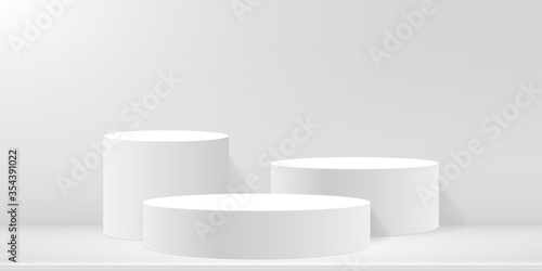 Obraz Round podium or pedestal on minimal scene platform. Mockup of studio for product presentation, branding design. 3d blank podium. Advertising stand for product. Vector illustration. - fototapety do salonu
