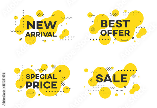 Set of flat geometric sale promo banners vector design Canvas Print