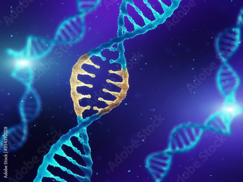 Double helix DNA molecule with modified genes, Correcting dangerous mutations by Canvas Print