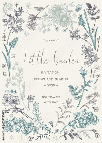 Floral frame.  Little garden. Canvas Print