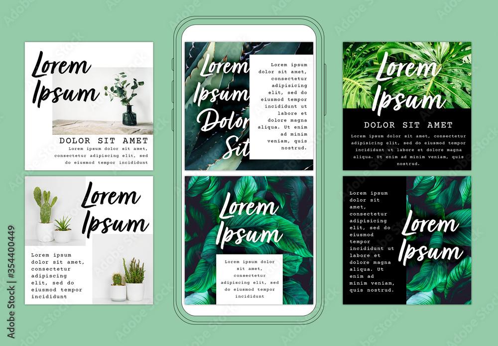 Fototapeta Social Media Layout Set with Botanical Inspiration