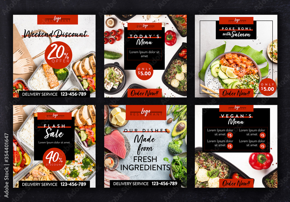 Fototapeta Restaurant Social Media Layout Set with Red and Back Accents