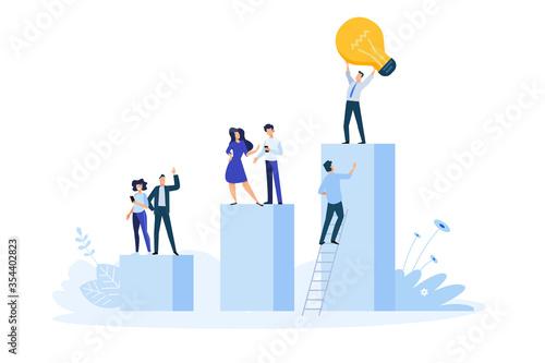 Obraz Flat design style illustration of big idea, startup, business success. Vector concept for website banner, marketing material, business presentation, online advertising. - fototapety do salonu