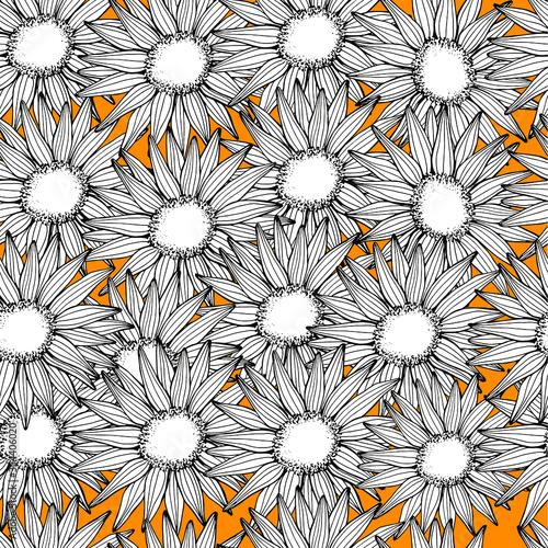 Canvas Print Sunflowers seamless pattern