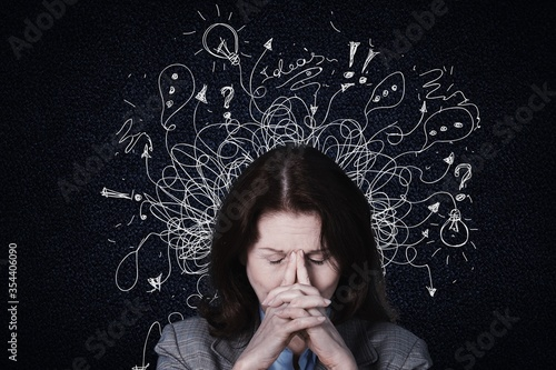 Obraz Young woman with worried stressed face expression with illustration - fototapety do salonu