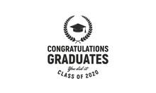 Graduation Ceremony Vintage Logo Template. Congratulations Graduates Label Concept. Class Of 2020. Vector Illustration