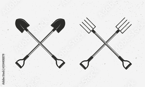 Leinwand Poster Shovel and pitchfork icon