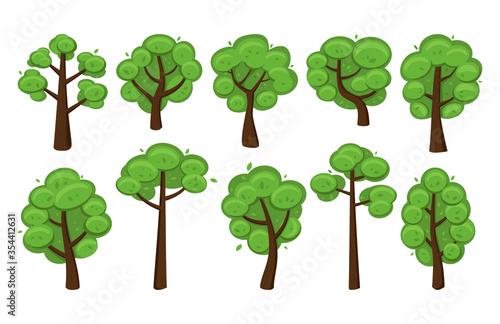 Obraz na plátně Cartoon set of lush trees