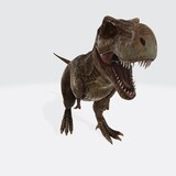 3D rendering of a roaring dinosaur Tyrannosaurus Rex isolated on white background
